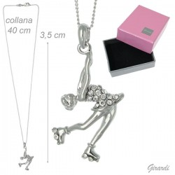 Collana Girocollo con Pendente Pattinatrice e Strass